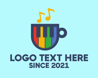Coffee Cup - Colorful Piano Cup logo design