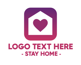 Stay Home - Stay Home Heart App logo design