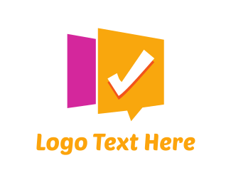 Orange And Pink - Checked Message logo design