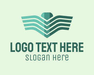 Airline - Green Linear Wings logo design