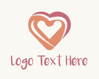Brushstroke - Pink Heart Painting logo design