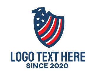 Us - Patriotic Eagle Shield logo design