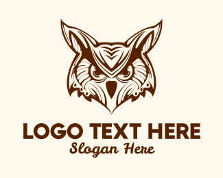 Feathers - Wise Brown Owl Bird logo design