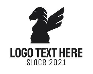 Winged - Winged Chess Horse logo design