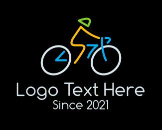 Athlete - Minimalist Cyclist Athlete logo design