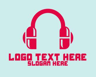 Listen - Music Pill Headphones logo design