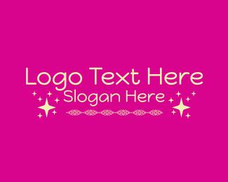 Girly - Yellow Stars Girly Wordmark logo design