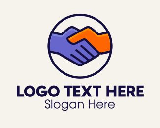 Negotiate - Handshake Partnership Emblem logo design