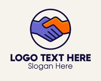 Emblem - Handshake Partnership Emblem logo design
