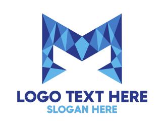 Blue Glass - Crystal Letter M logo design