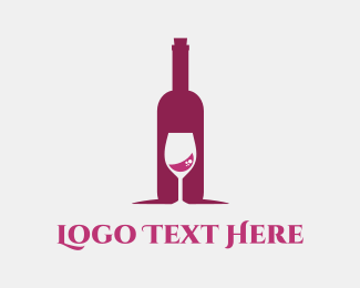 Red Wine - Wine Bottle & Glass logo design