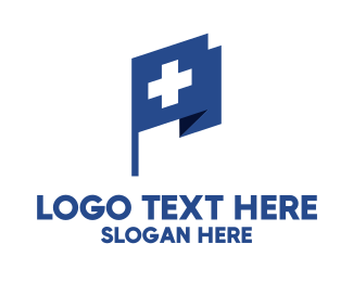 Health Insurance - Red Cross Medical Flag logo design