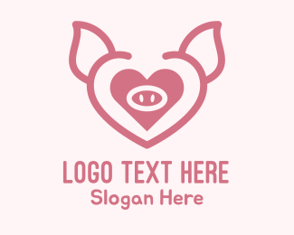 Hog Raising - Heart Pig Face logo design