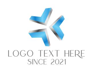 Metal - Blue Metallic Arrows logo design