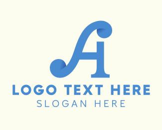 Calligraphy - Fancy Blue Letter A logo design