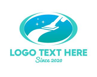 Home Service - Deep Cleaning Vacuum  logo design