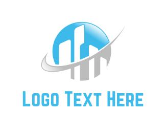 Building - Buildings & Globe logo design
