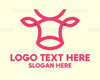 Dairy - Pink Cow logo design