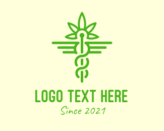 Natural Medicine - Green Medical Weed  logo design