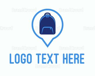 Wanderlust - Blue Backpack logo design