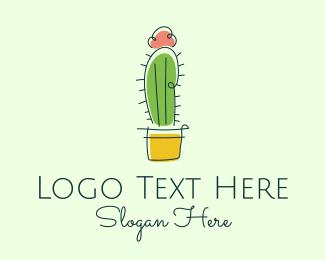 Cacti - Minimalist Cactus Flower  logo design