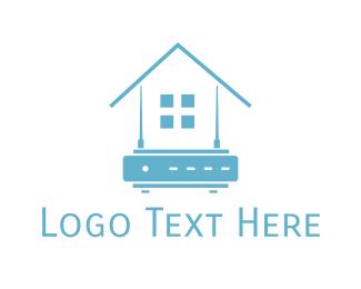 Router - Blue Home Router logo design