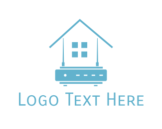 Wireless - Blue Home Router logo design