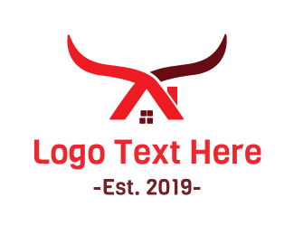 Longhorn - Cow House logo design