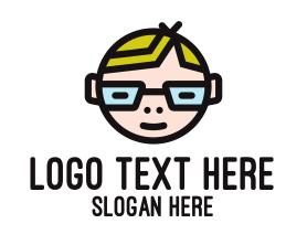 Geek - Nerd Kid Mascot logo design