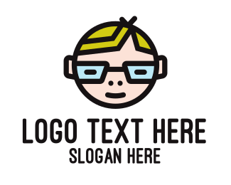 Blonde - Nerd Kid Mascot logo design