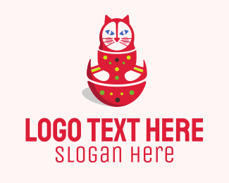 Russia - Matryoshka Doll Cat logo design