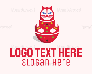 Kids - Matryoshka Doll Cat logo design