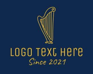 Clarinet - Golden Harp logo design