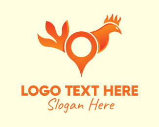 Chicken Farm - Orange Rooster Location Pin logo design