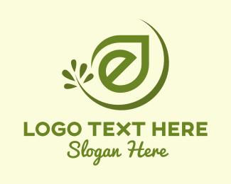 Organic Products - Organic Leaf Letter E logo design