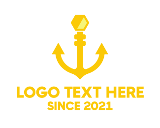Gold Hexagon - Honey Anchor logo design
