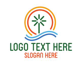 Beach Resort - Minimalist Sunny Beach  logo design