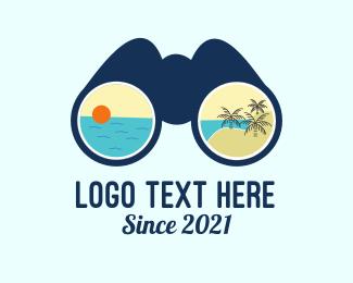 Resort - Beach Resort Binocular logo design