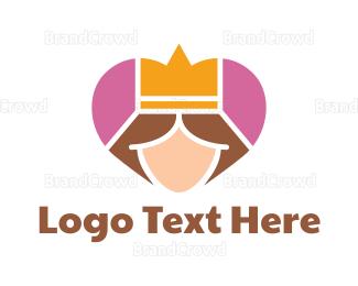 Monarchy - Mosaic Heart Queen logo design