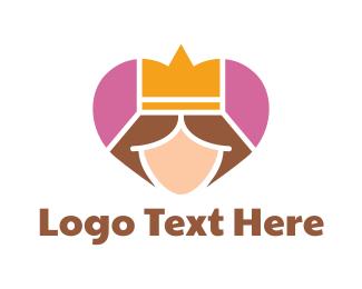 Queen - Pink Heart Queen Princess logo design
