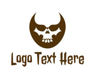 Crypt - Futuristic Skull Head logo design