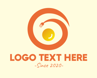 Eating - Spiral Fork Egg logo design