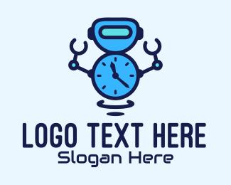 Timekeeping - Robot Alarm Timer logo design