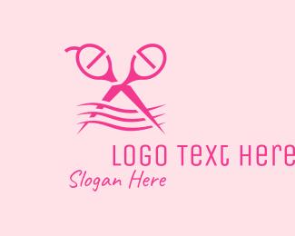 Haircutter - Pink Scissors Hairdresser  logo design