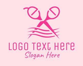 Hairdresser - Pink Scissors Hairdresser logo design