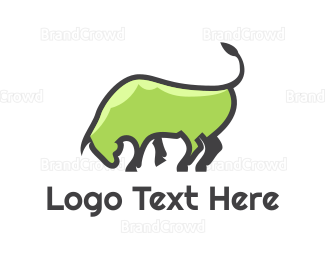 Buffalo - Abstract Green Bull logo design