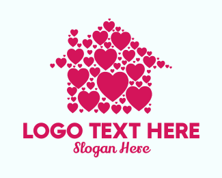 Quarantine - Cute Heart House  logo design