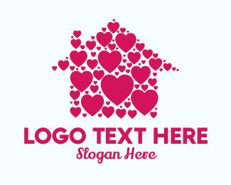 Hearts - Cute Heart House logo design