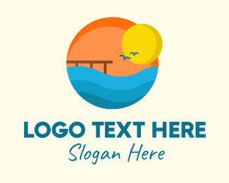 Travel - Sunset Beach Port logo design