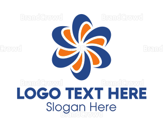 Rotation - Blue & Orange Flower logo design